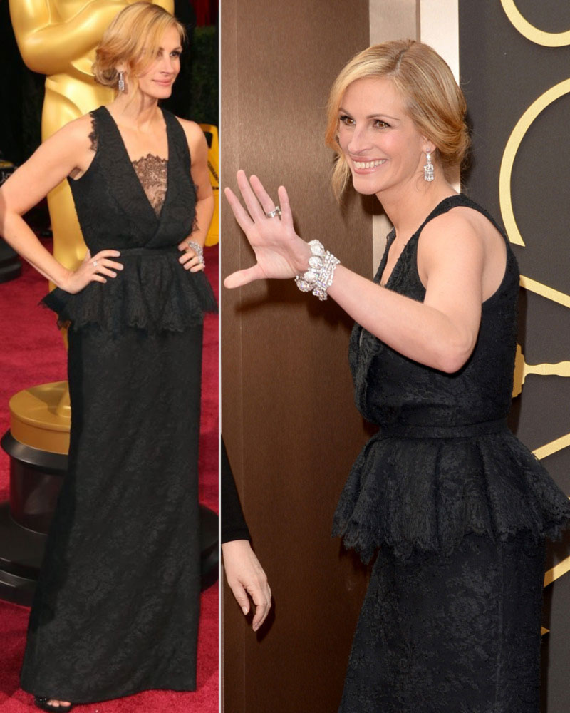 2014 Oscars dresses Julia Roberts black lace Givenchy dress