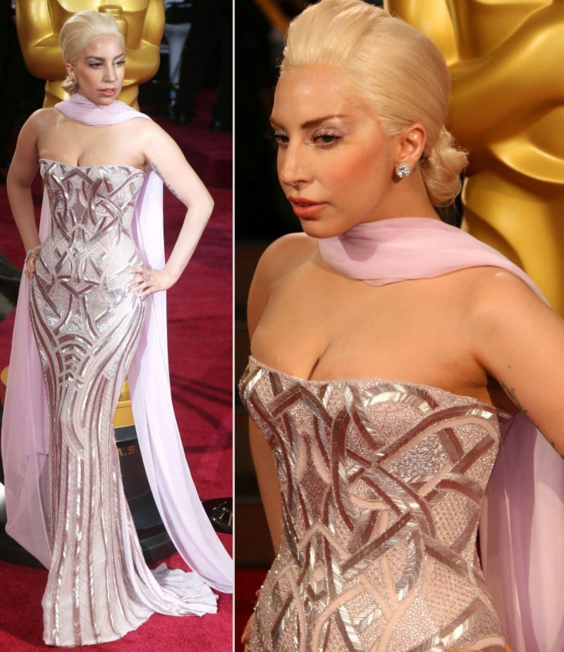 2014 Oscars dresses Lady Gaga Versace gown