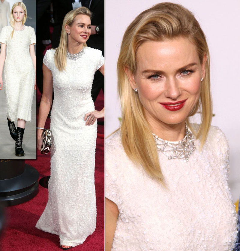 2014 Oscars dresses Naomi Watts Calvin Klein white dress