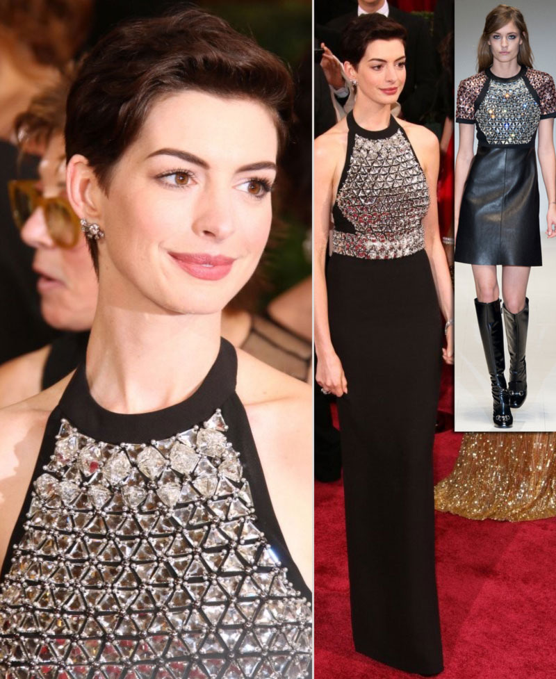 2014 Oscars fashion Anne Hathaway dress Gucci fall14