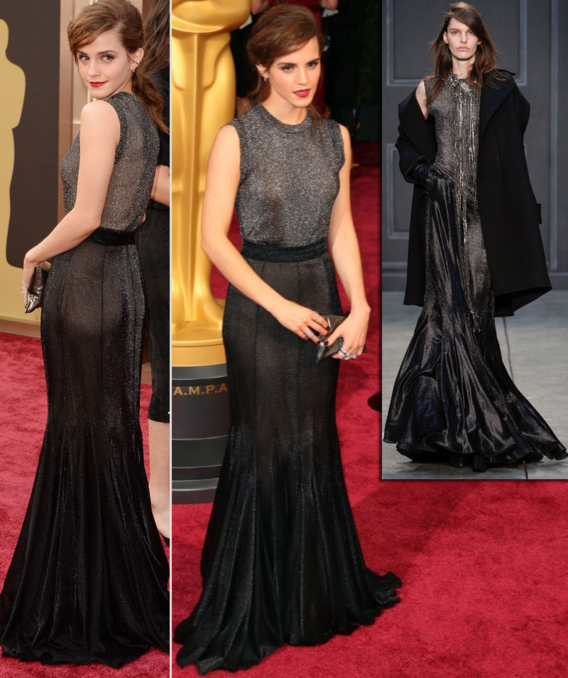 2014 Oscars fashion Emma Watson dress Vera Wang FW14 - StyleFrizz ...