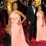 2014 Oscars fashion Jada Pinkett Smith soft peach Versace dress