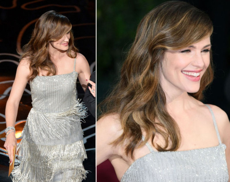 2014 Oscars fashion Jennifer Garner hair makeup jewelry
