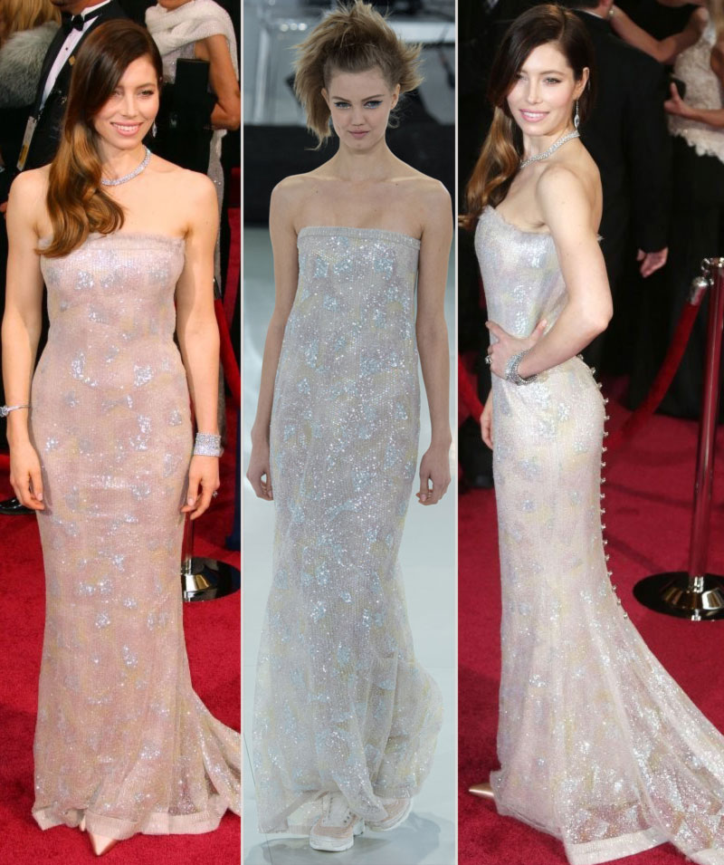 2014 Oscars fashion Jessica Biel Chanel couture dress