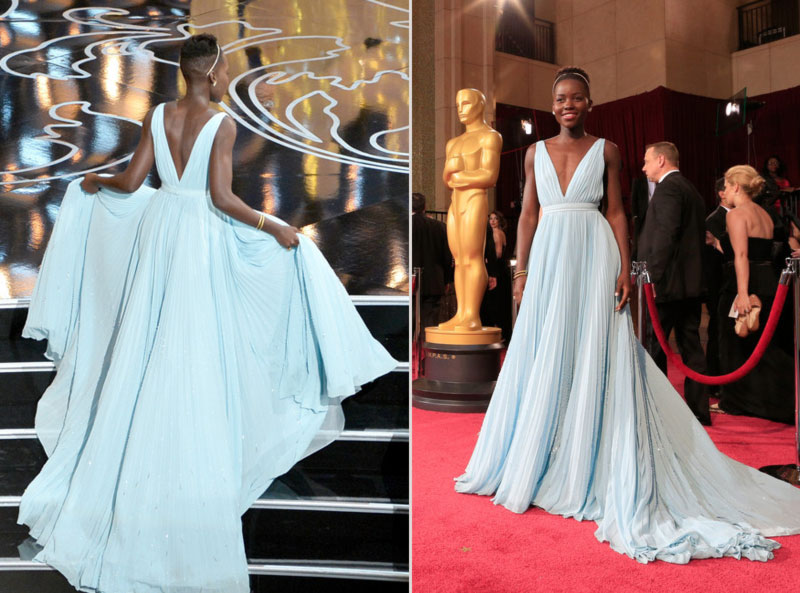 2014 Oscars fashion Lupita Nyongo Prada light blue dress