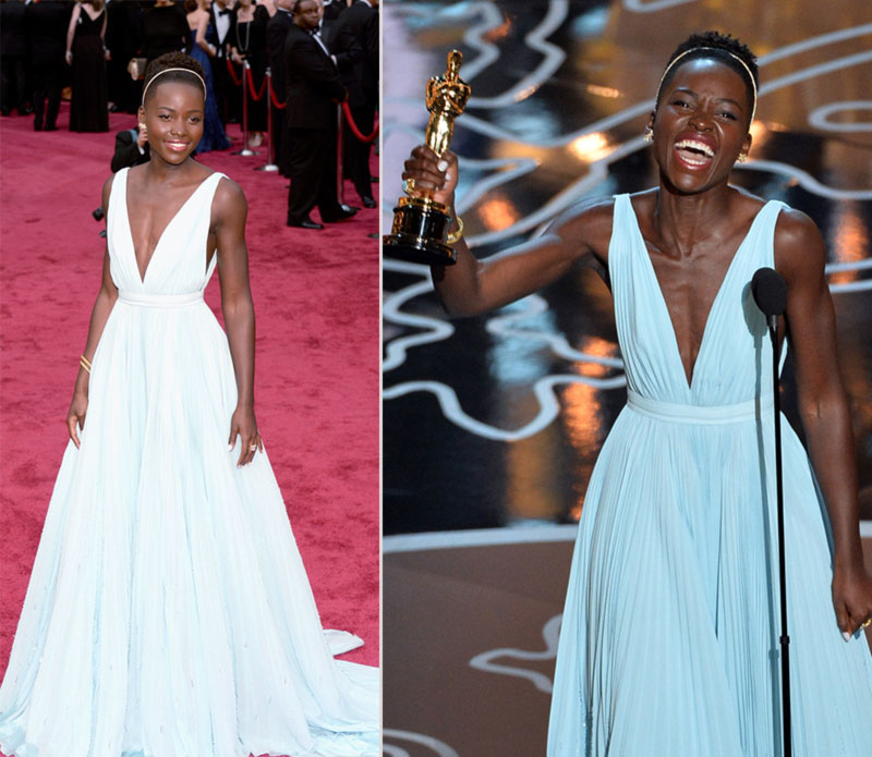 2014 Oscars fashion winner Lupta Nyongo Prada dress