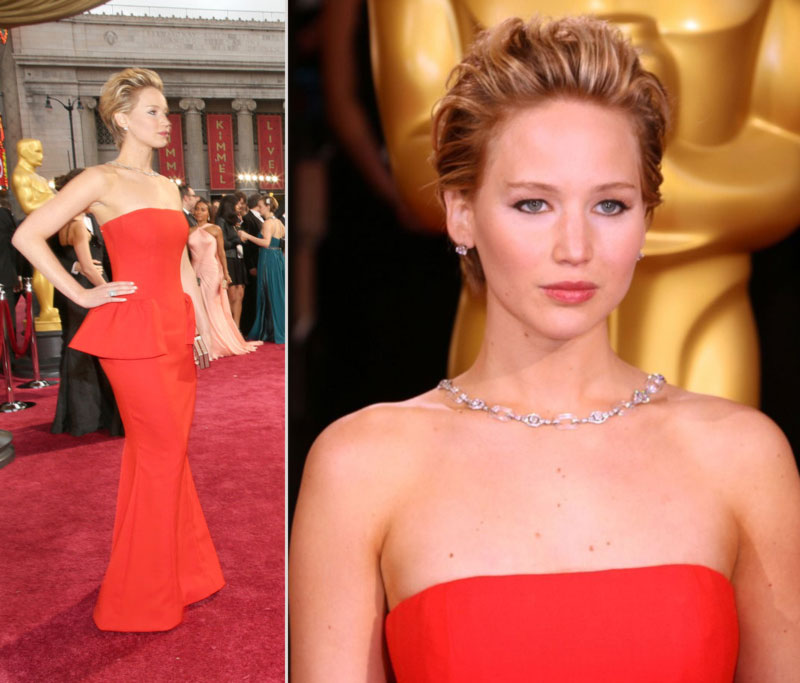 2014 Oscars Jennifer Lawrence hair makeup jewelry