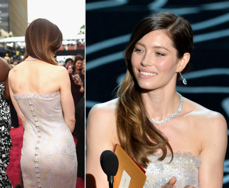 2014 Oscars Jessica Biel dress hair makeup jewelry