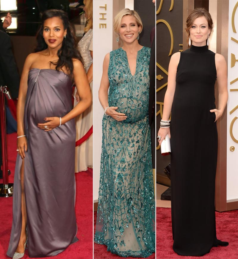 2014 Oscars Red Carpet pregnant fashion Kelly Elsa Olivia