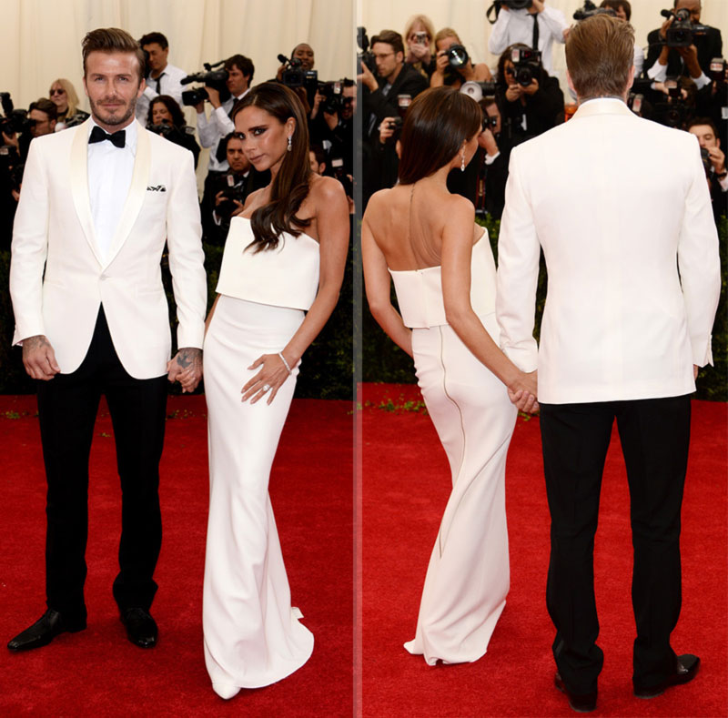 2014 Red Carpet couples Victoria David Beckham in white
