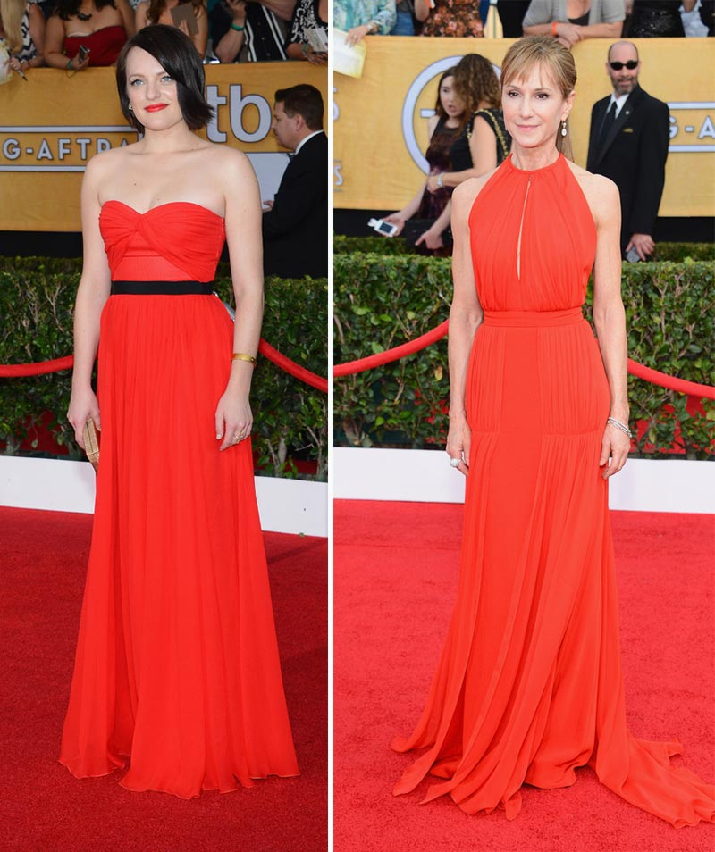 2014 SAG Awards red dresses Elisabeth Moss Holly Hunter