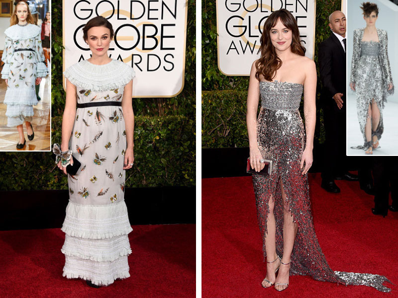 2015 Golden Globes Red Carpet Chanel dresses Keira Knightley Dakota Johnson
