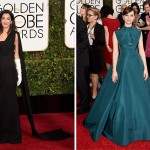 2015 Golden Globes Red Carpet Dior dresses Amal Clooney Felicity Jones