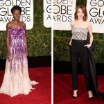 2015 Golden Globes Red Carpet Lupita Nyongo Emma Stone