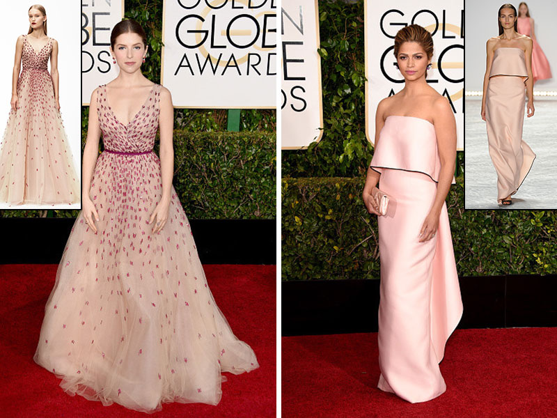 2015 Golden Globes Red Carpet Marchesa dresses Anna Kendrick Camila Alves