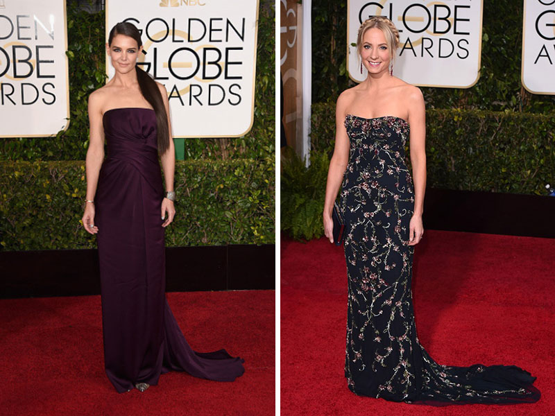 2015 Golden Globes Red Carpet Marchesa dresses Katie Holmes Joanna Froggatt