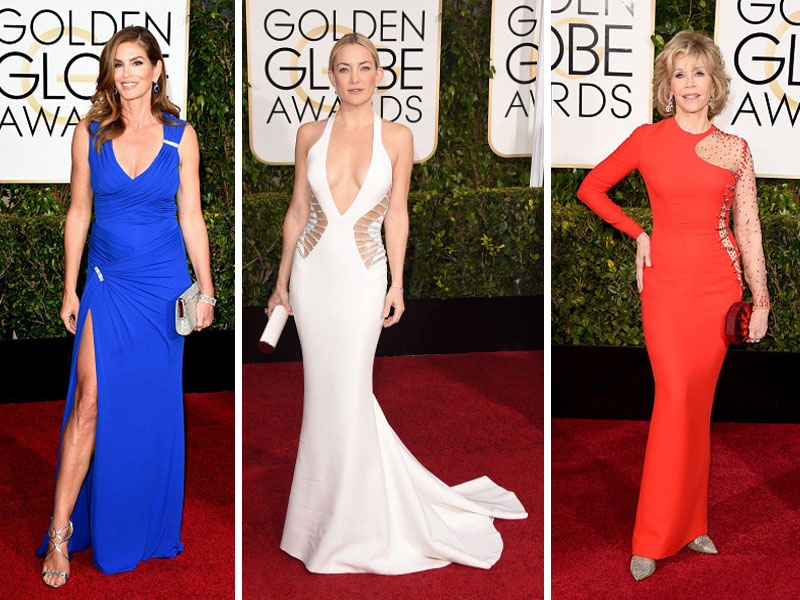 2015 Golden Globes Red Carpet Versace dresses Cindy Crawford Jane Fonda Kate Hudson