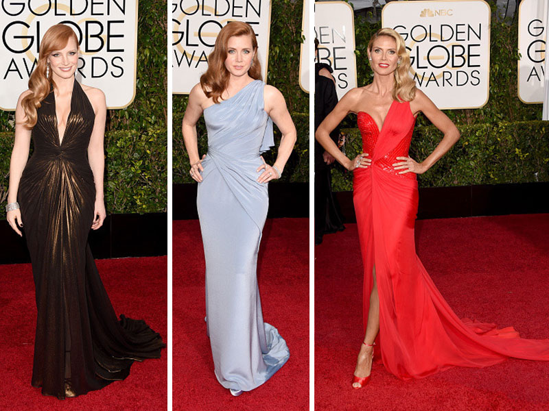 2015 Golden Globes Red Carpet Versace dresses Jessica Chastain Amy Adams Heidi Klum