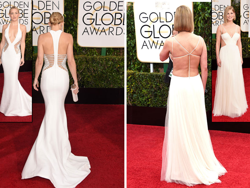 2015 Golden Globes Red Carpet white dress back Kate Hudson Rosamund Pike