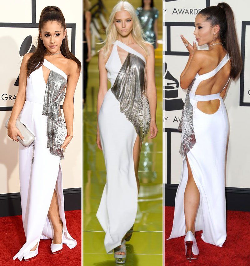 2015 Grammy Awards fashion Ariana Grande white Versace