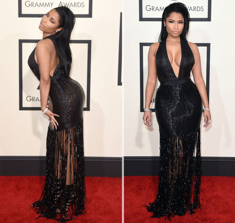 2015 Grammy Awards fashion Nicky Minaj black Tom Ford