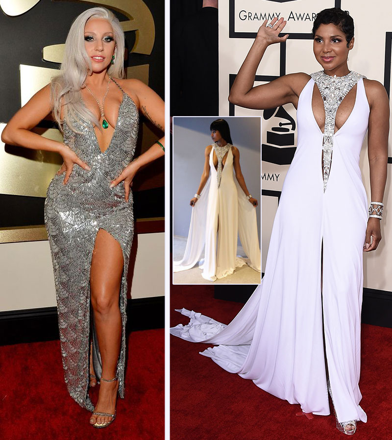 2015 Grammy Awards Red Carpet dresses Lady Gaga Toni Braxton