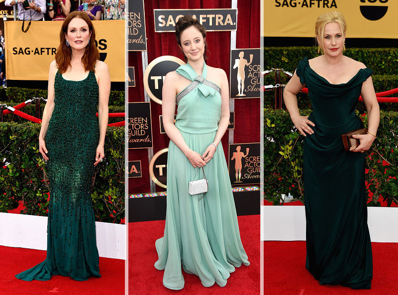 2015 SAG Awards green dresses Julianne Moore Andrea Riseborough Patricia Arquette