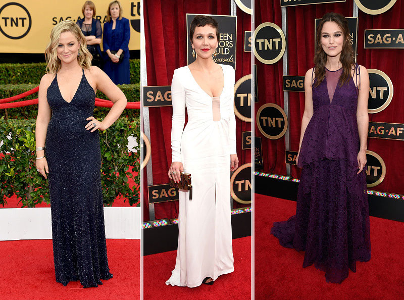 2015 SAG Awards red carpet cleavage trend Amy Poehler Maggie Gyllenhaal Keira Knightley