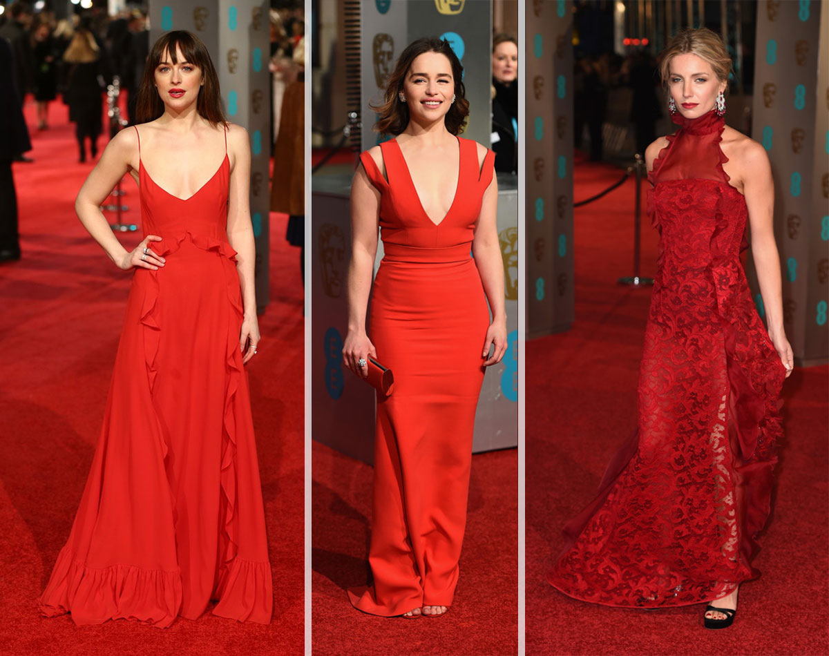 2016 Bafta Red Carpet dresses Dakota Johnson Emilia Clarke Annabelle Wallis