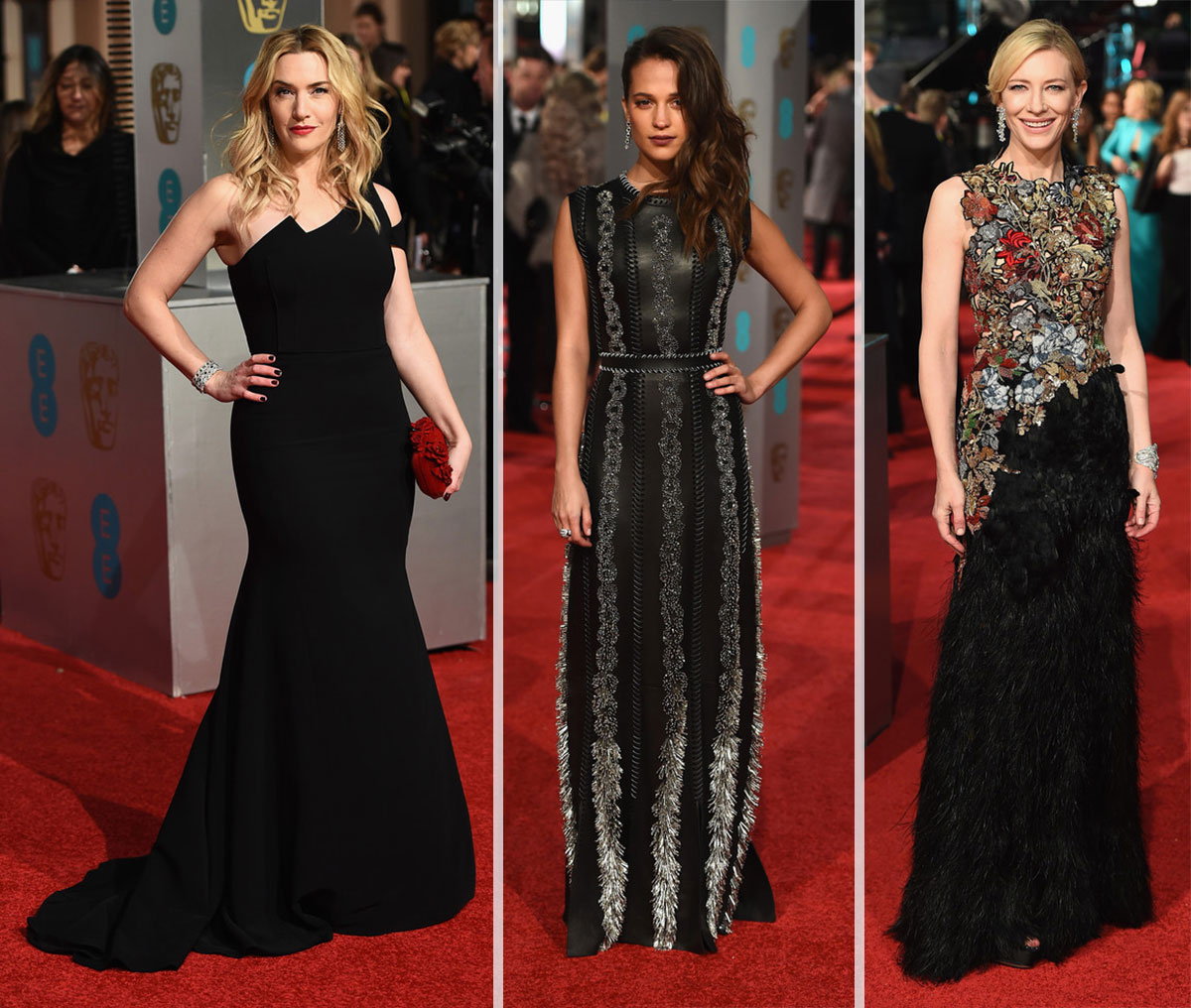 2016 bafta red carpet dresses red black elegance stylefrizz - Black and white red carpet dresses ...