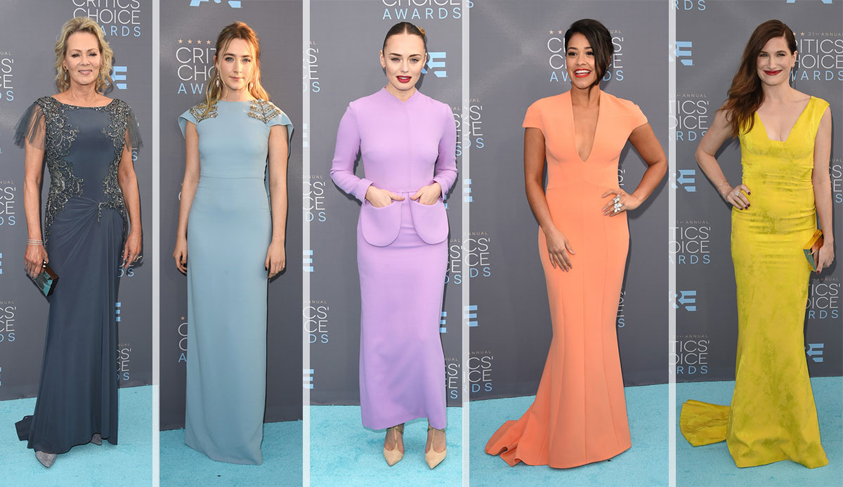 2016 criticcs choice awards red carpet colorful dresses