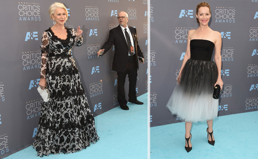 2016 critics choice awards red carpet dresses Helen Mirren Leslie Mann