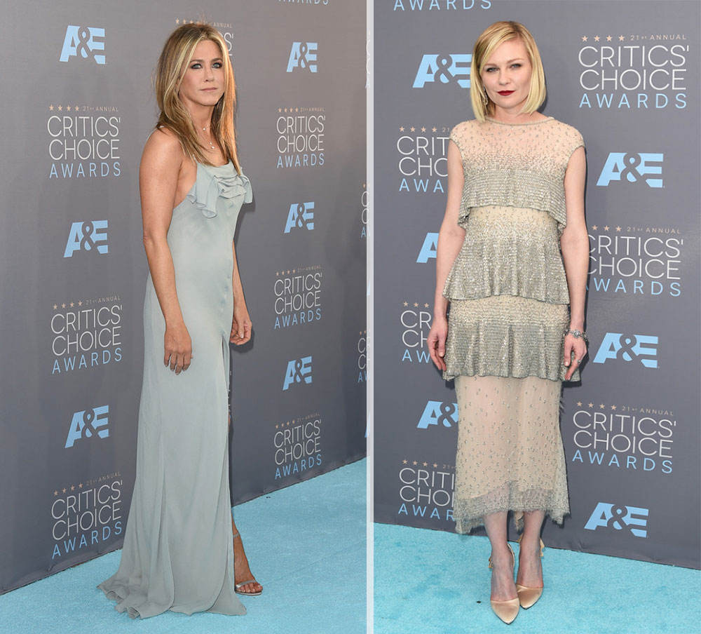 2016 critics choice awards red carpet dresses Jennifer Aniston Kristen Dunst