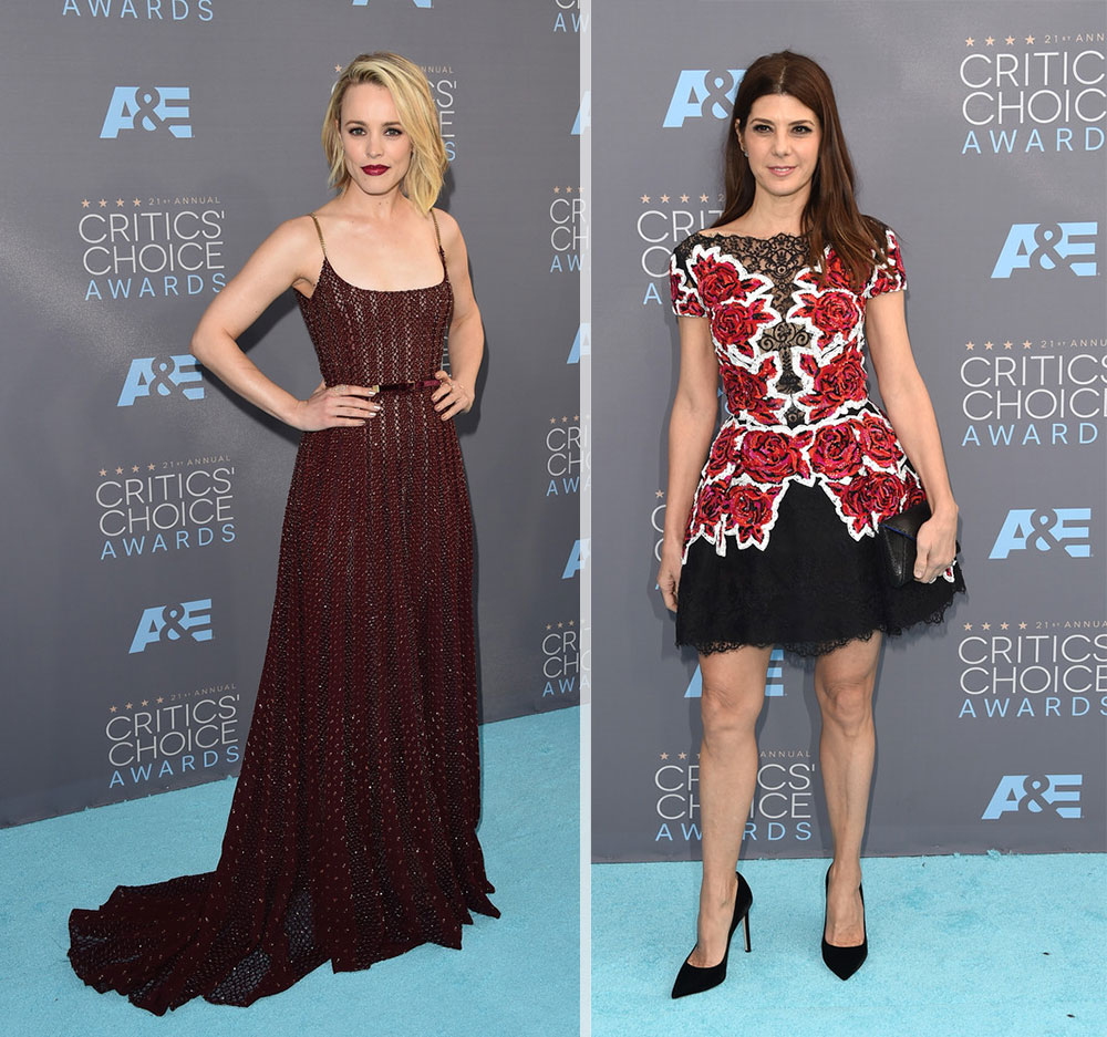 2016 critics choice awards red carpet dresses Rachel McAdams Marisa Tomei