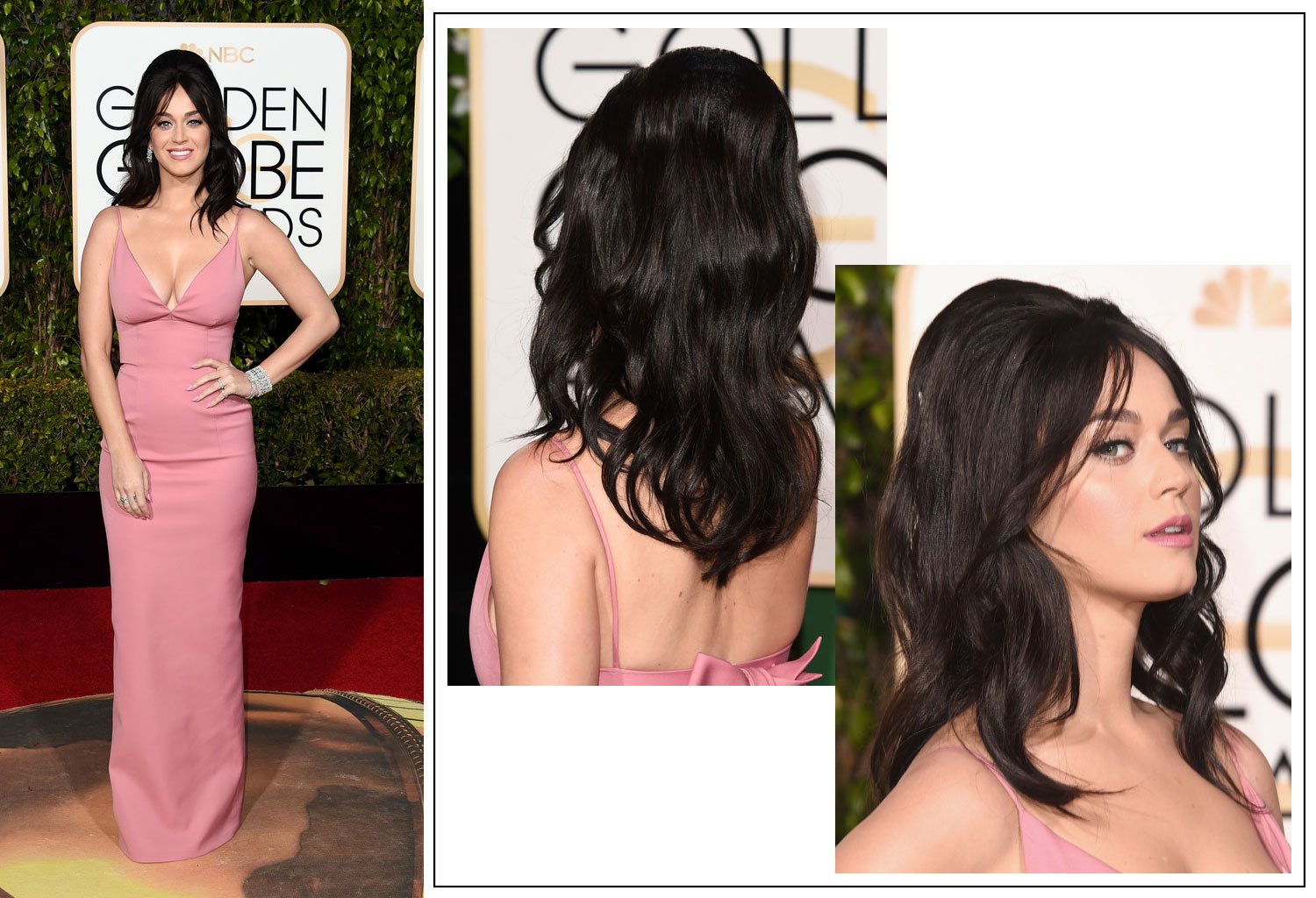 2016 Golden Globes Red Carpet hairdo Katy Perry