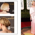 2016 Golden Globes Red Carpet hairdo sideswept faux bob Cate Blanchett