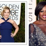 2016 Golden Globes Red Carpet hairdo sideswept faux bob Kate Winslet Viola Davis