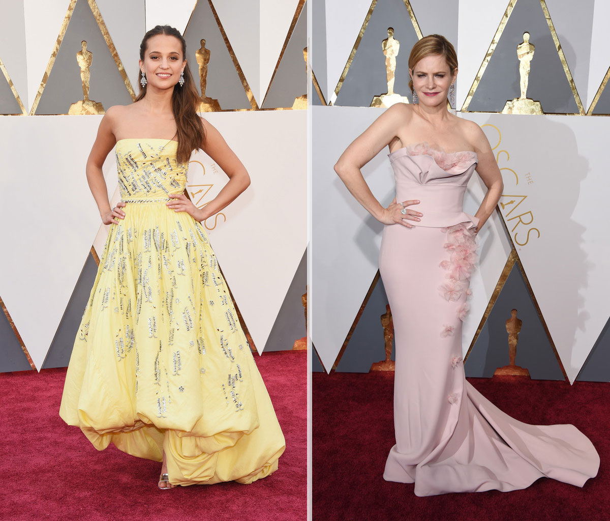 2016 Oscars Red Carpet dresses Alicia Vikander Jennifer Jason Leigh