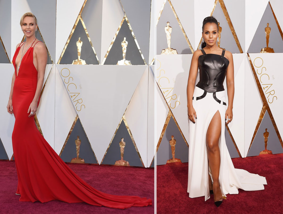 2016 Oscars Red Carpet dresses Charlize Theron Kerry Washington