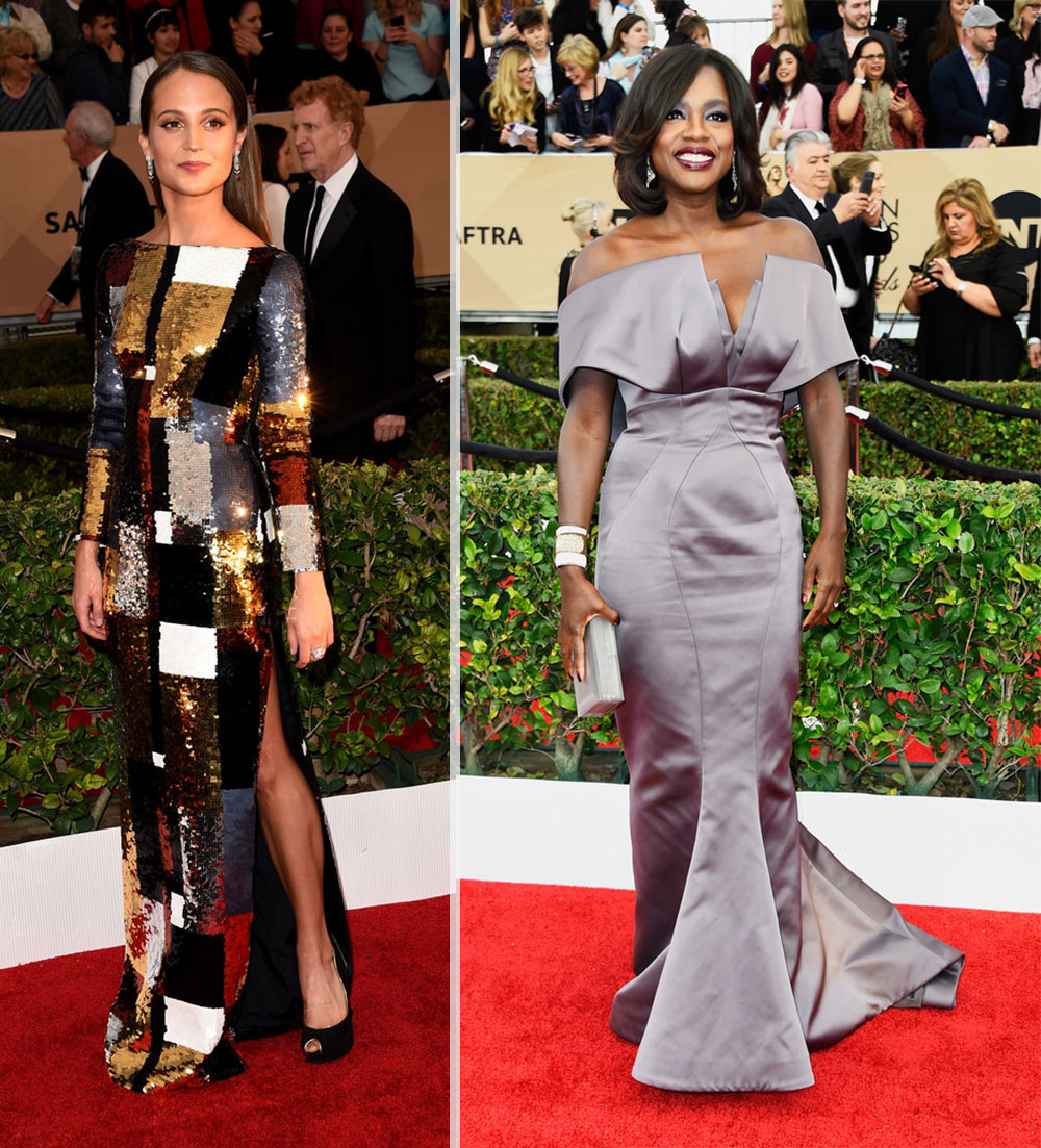 2016 SAG Awards Red Carpet dresses Alicia Vikander Viola Davis