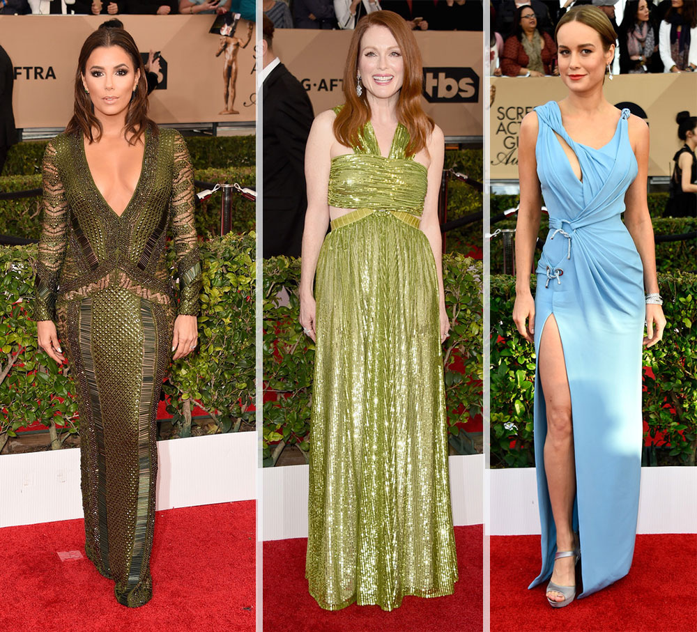 2016 SAG Awards Red Carpet dresses Eva Longoria Julianne Moore Alison Brie