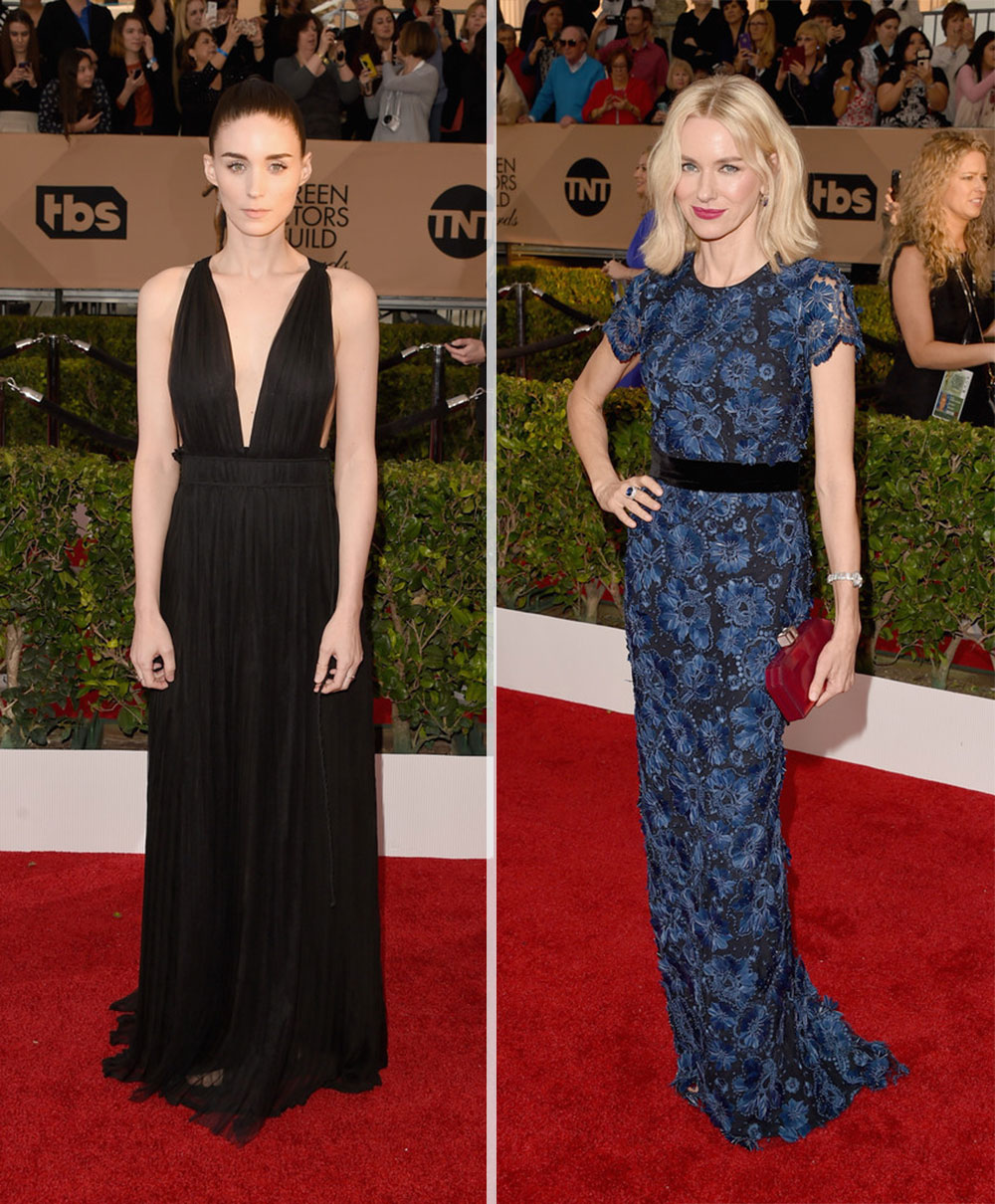2016 SAG Awards Red Carpet dresses Rooney Mara Naomi Watts