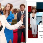 2016 SAG Awards Red Carpet Susan Sarandon tux cleavage