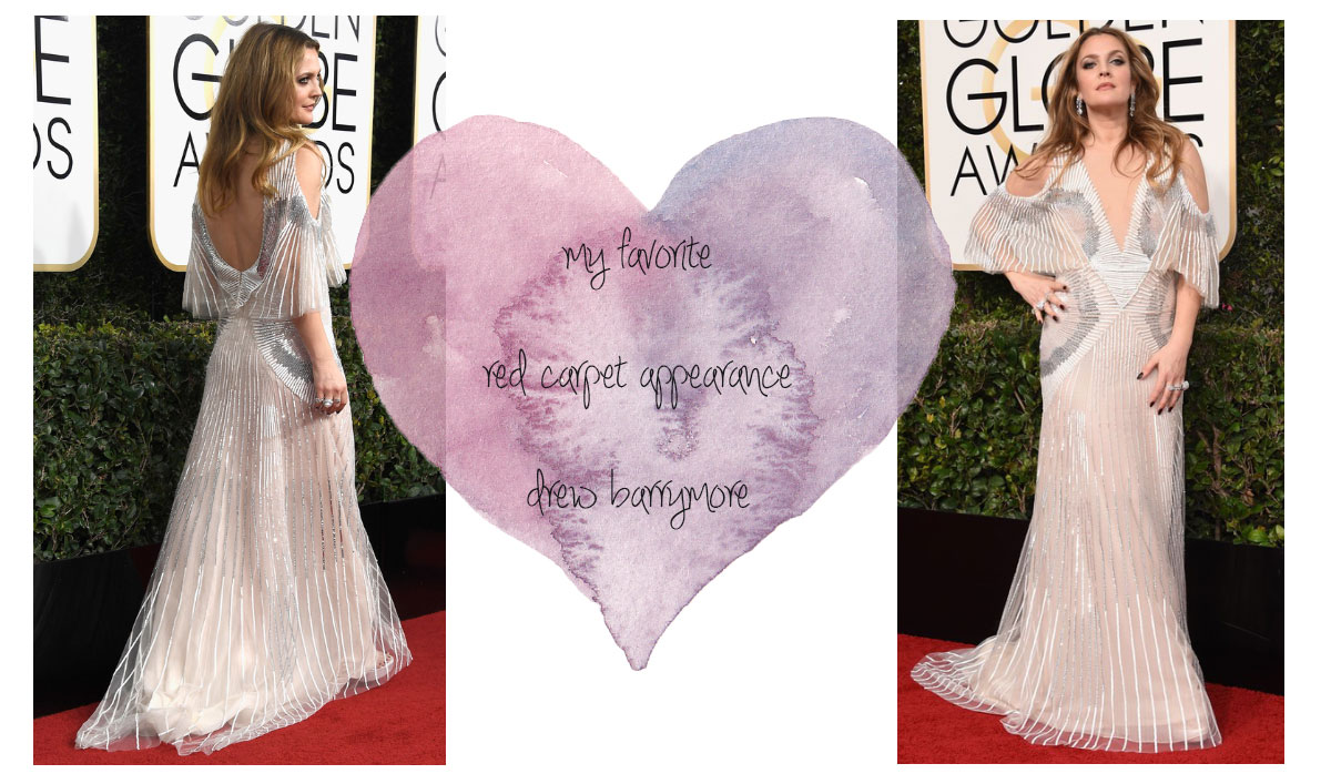 2017 Golden Globes best dressed Drew Barrymore