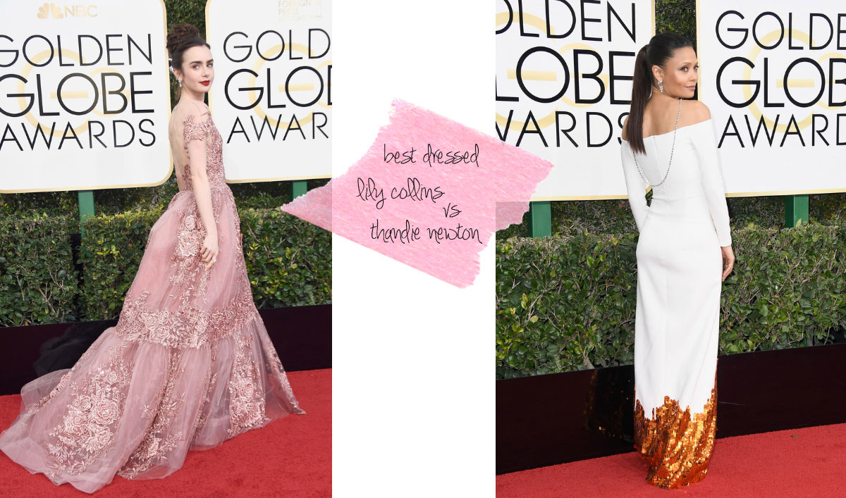 2017 Golden Globes dresses Lily Collins Thandie Newton