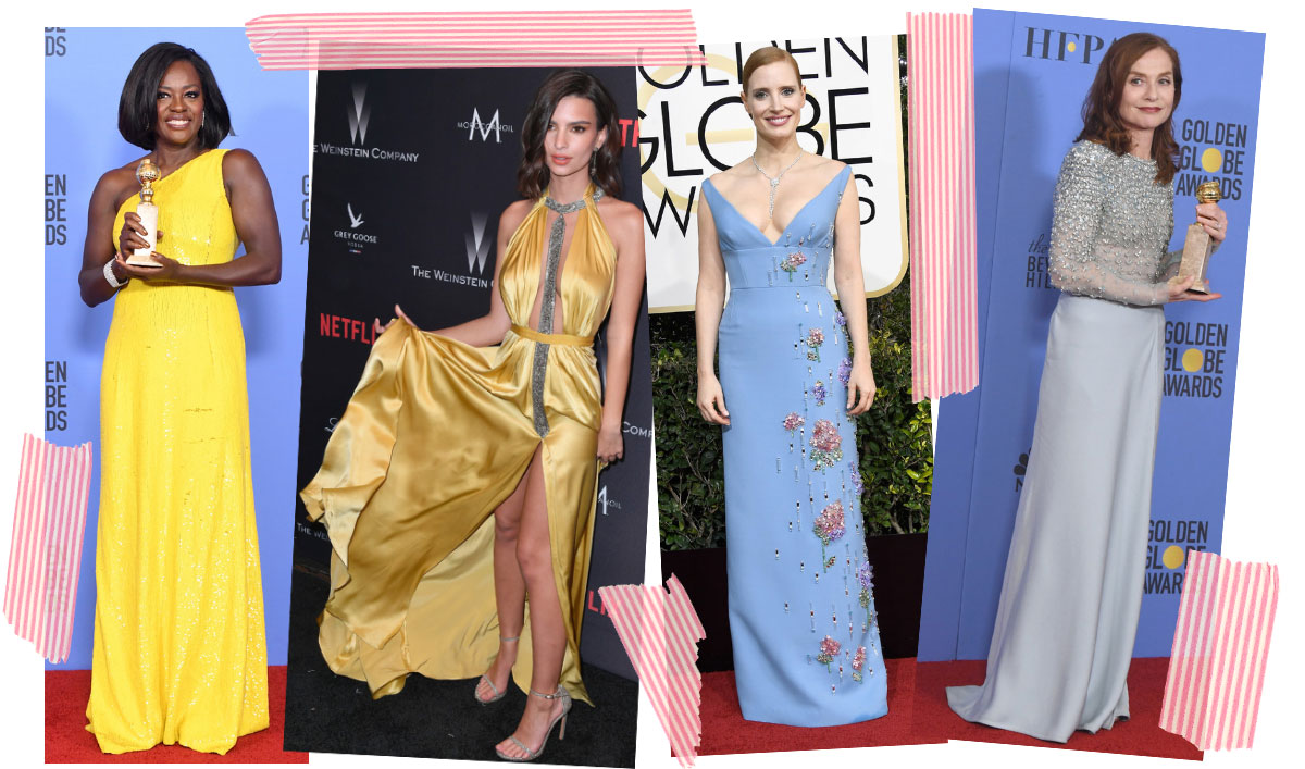2017 Golden Globes dresses yellow blue