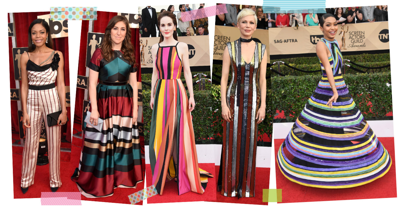 2017 sag awards fashion trends striped dresses