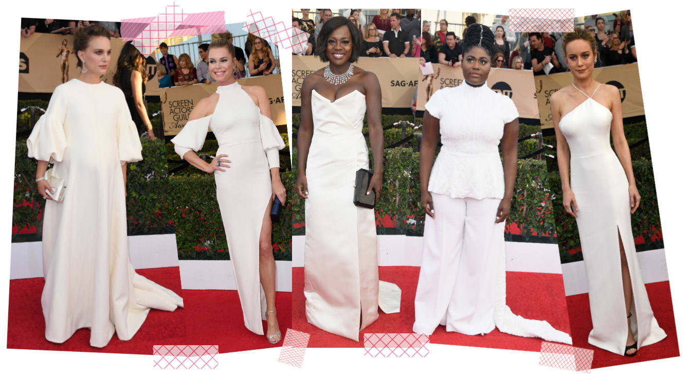 2017 sag awards fashion trends white dresses