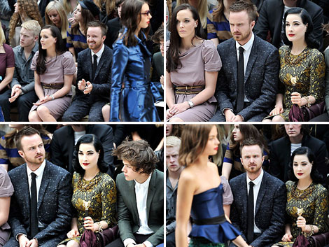 Aaron Paul watching a Fashion Week Fashion Show first row