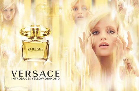 Abbey Lee Kershaw Versace Yellow Diamond Perfume ad campaign